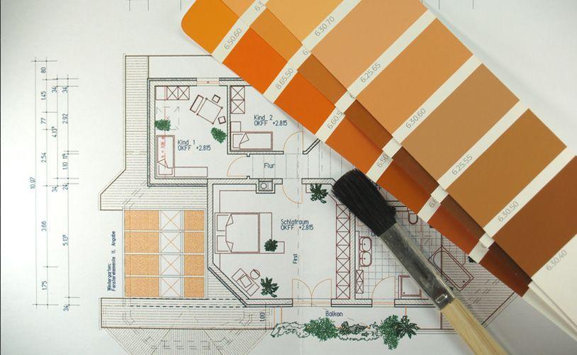 Grundriss mit Farbfächer